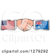 Clipart Of Caucasian Hands Shaking With American And Australian Flags Royalty Free Vector Illustration