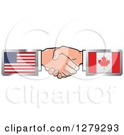 Clipart Of Caucasian Hands Shaking With American And Canadian Flags Royalty Free Vector Illustration