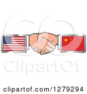 Poster, Art Print Of Caucasian Hands Shaking With American And Chinese Flags