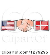 Clipart Of Caucasian Hands Shaking With American And Denmark Flags Royalty Free Vector Illustration