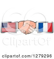 Clipart Of Caucasian Hands Shaking With American And French Flags Royalty Free Vector Illustration