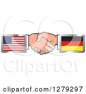 Clipart Of Caucasian Hands Shaking With American And German Flags Royalty Free Vector Illustration