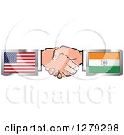 Poster, Art Print Of Caucasian Hands Shaking With American And Indian Flags