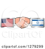 Clipart Of Caucasian Hands Shaking With American And Israel Flags Royalty Free Vector Illustration