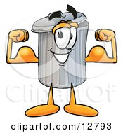 Clipart Picture Of A Garbage Can Mascot Cartoon Character Flexing His Arm Muscles