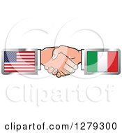 Clipart Of Caucasian Hands Shaking With American And Italian Flags Royalty Free Vector Illustration