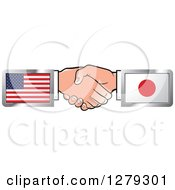 Poster, Art Print Of Caucasian Hands Shaking With American And Japanese Flags