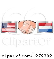 Poster, Art Print Of Caucasian Hands Shaking With American And Netherlands Flags