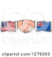 Poster, Art Print Of Caucasian Hands Shaking With American And New Zealand Flags