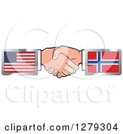 Clipart Of Caucasian Hands Shaking With American And Norway Flags Royalty Free Vector Illustration