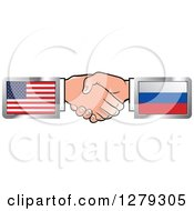 Poster, Art Print Of Caucasian Hands Shaking With American And Russian Flags