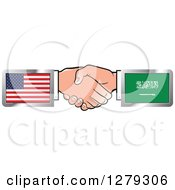 Poster, Art Print Of Caucasian Hands Shaking With American And Saudi Arabia Flags