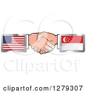 Poster, Art Print Of Caucasian Hands Shaking With American And Singapore Flags