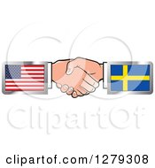 Poster, Art Print Of Caucasian Hands Shaking With American And Sweden Flags