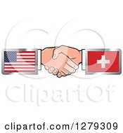 Poster, Art Print Of Caucasian Hands Shaking With American And Switzerland Flags