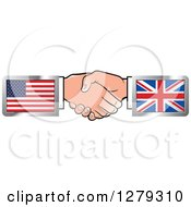 Clipart Of Caucasian Hands Shaking With American And UK Flags Royalty Free Vector Illustration by Lal Perera