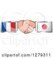 Poster, Art Print Of Caucasian Hands Shaking With French And Japanese Flags