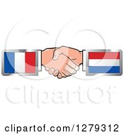 Clipart Of Caucasian Hands Shaking With French And Netherlands Flags Royalty Free Vector Illustration by Lal Perera