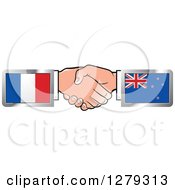 Clipart Of Caucasian Hands Shaking With French And New Zealand Flags Royalty Free Vector Illustration