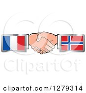 Clipart Of Caucasian Hands Shaking With French And Norwegian Flags Royalty Free Vector Illustration by Lal Perera