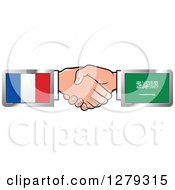 Poster, Art Print Of Caucasian Hands Shaking With French And Saudi Arabia Flags