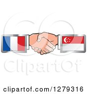 Poster, Art Print Of Caucasian Hands Shaking With French And Singapore Flags