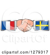 Clipart Of Caucasian Hands Shaking With French And Sweden Flags Royalty Free Vector Illustration by Lal Perera