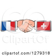 Poster, Art Print Of Caucasian Hands Shaking With French And Swiss Flags