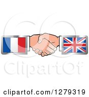 Poster, Art Print Of Caucasian Hands Shaking With French And United Kingdom Flags