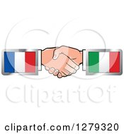 Clipart Of Caucasian Hands Shaking With French And Italian Flags Royalty Free Vector Illustration by Lal Perera