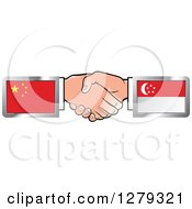 Poster, Art Print Of Caucasian Hands Shaking With Chinese And Singapore Flags