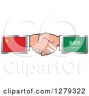 Poster, Art Print Of Caucasian Hands Shaking With Chinese And Saudi Arabia Flags