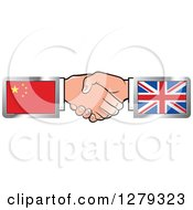 Poster, Art Print Of Caucasian Hands Shaking With Chinese And United Kingdom Flags