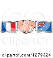 Clipart Of Caucasian Hands Shaking With French And Australian Flags Royalty Free Vector Illustration by Lal Perera