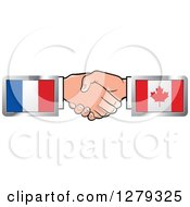 Clipart Of Caucasian Hands Shaking With French And Canadian Flags Royalty Free Vector Illustration by Lal Perera