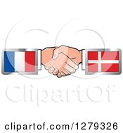 Clipart Of Caucasian Hands Shaking With French And Denmark Flags Royalty Free Vector Illustration