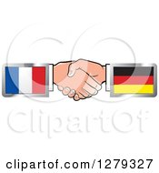 Clipart Of Caucasian Hands Shaking With French And German Flags Royalty Free Vector Illustration by Lal Perera