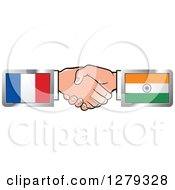 Clipart Of Caucasian Hands Shaking With French And Indian Flags Royalty Free Vector Illustration by Lal Perera