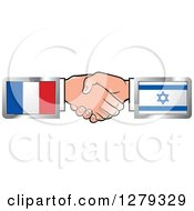 Poster, Art Print Of Caucasian Hands Shaking With French And Israeli Flags
