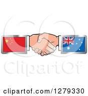 Poster, Art Print Of Caucasian Hands Shaking With Chinese And Australian Flags