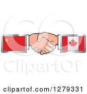 Clipart Of Caucasian Hands Shaking With Chinese And Canadian Flags Royalty Free Vector Illustration by Lal Perera