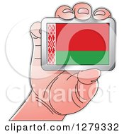 Clipart Of A Caucasian Hand Holding A Belarusian Flag Royalty Free Vector Illustration