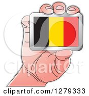 Clipart Of A Caucasian Hand Holding A Belgian Flag Royalty Free Vector Illustration