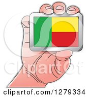 Clipart Of A Caucasian Hand Holding A Beninese Flag Royalty Free Vector Illustration