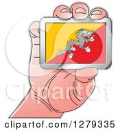 Clipart Of A Caucasian Hand Holding A Bhutanese Flag Royalty Free Vector Illustration