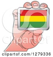 Clipart Of A Caucasian Hand Holding A Bolivian Flag Royalty Free Vector Illustration