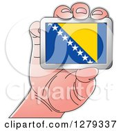 Clipart Of A Caucasian Hand Holding A Bosnia And Herzegovina Flag Royalty Free Vector Illustration