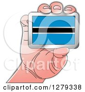 Clipart Of A Caucasian Hand Holding A Batswana Flag Royalty Free Vector Illustration