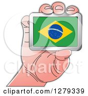 Clipart Of A Caucasian Hand Holding A Brazilian Flag Royalty Free Vector Illustration