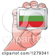 Clipart Of A Caucasian Hand Holding A Bulgarian Flag Royalty Free Vector Illustration